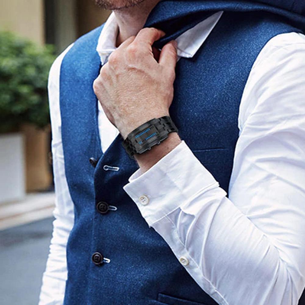 Creative Binary Watch LED Digital Display Buckle Type Lock Wristwatch_3