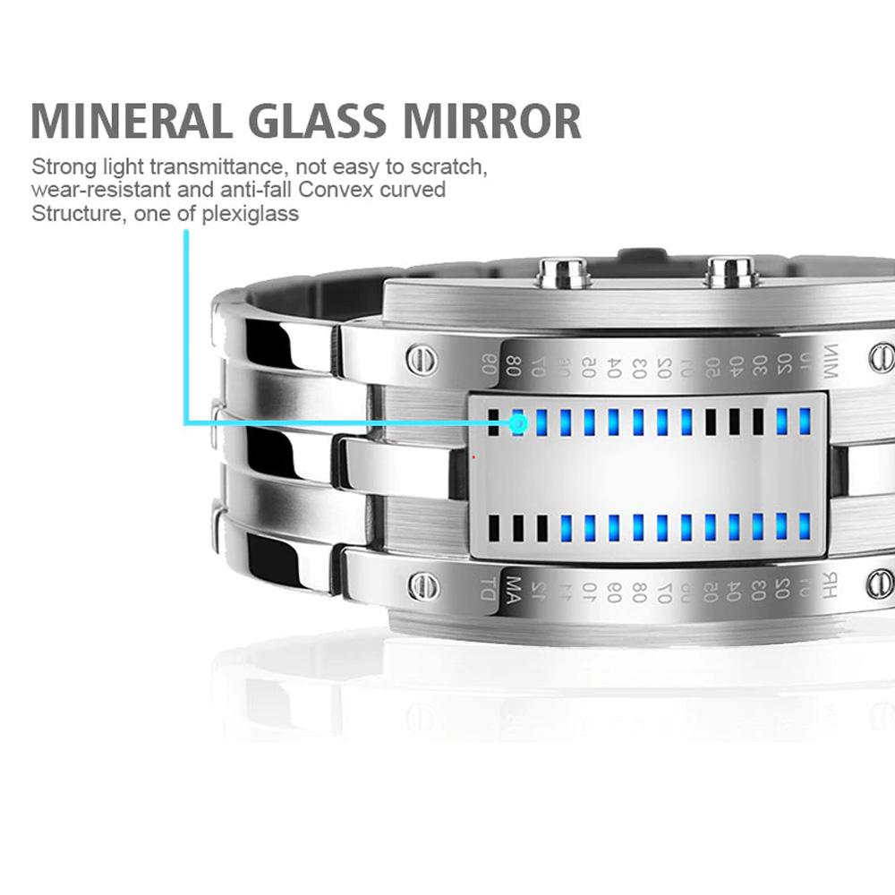 Creative Binary Watch LED Digital Display Buckle Type Lock Wristwatch_6