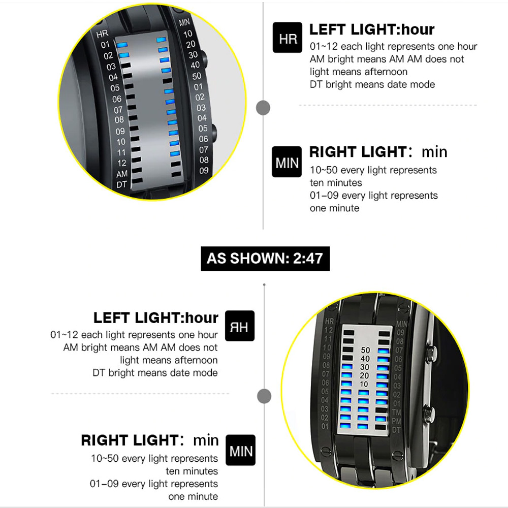 Creative Binary Watch LED Digital Display Buckle Type Lock Wristwatch_8