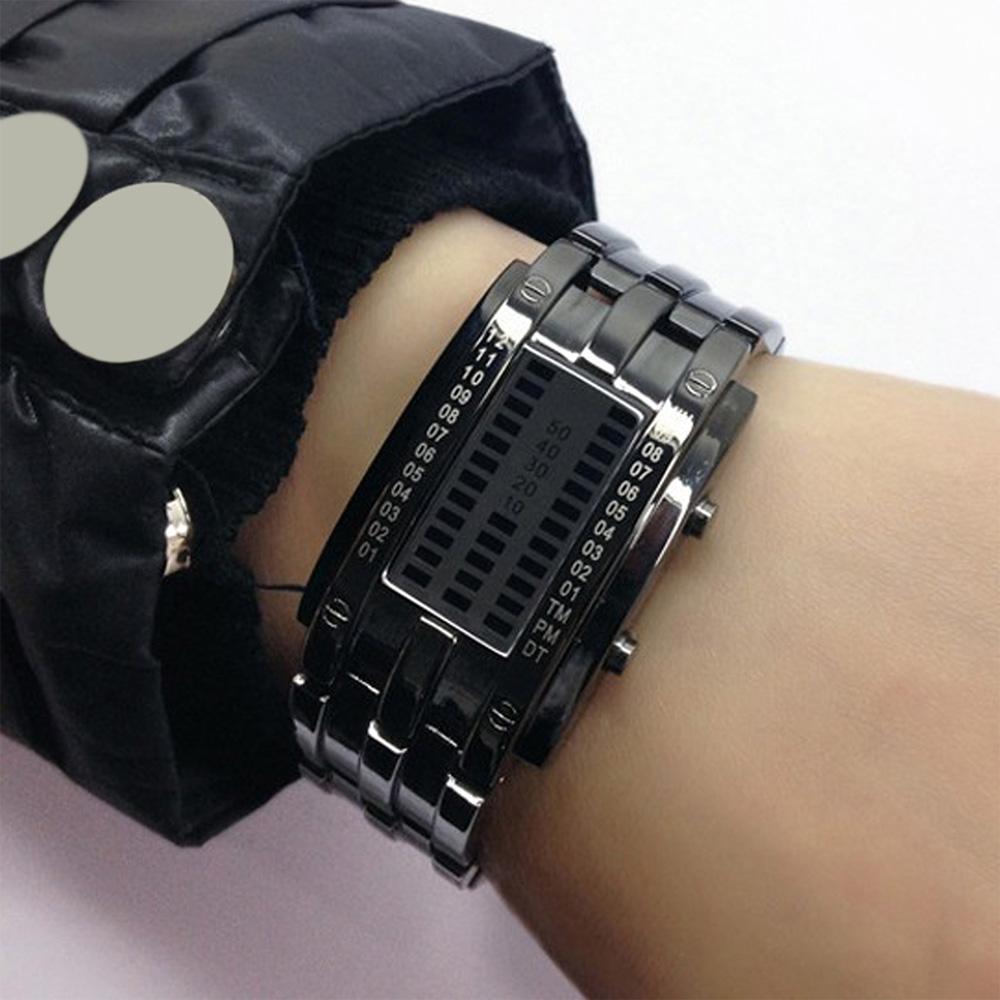Creative Binary Watch LED Digital Display Buckle Type Lock Wristwatch_5