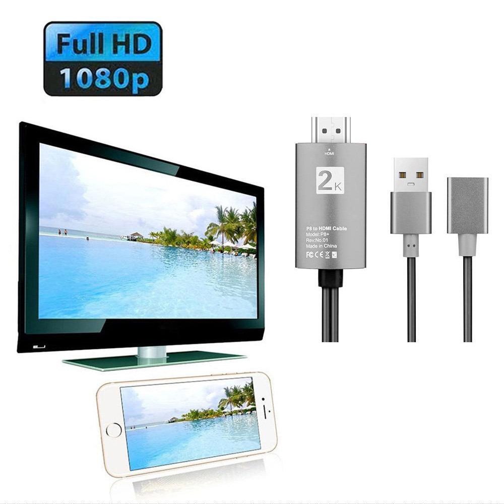 2m USB to HDMI 2K HD Cable Cord for 8-Pin Apple Devices_7