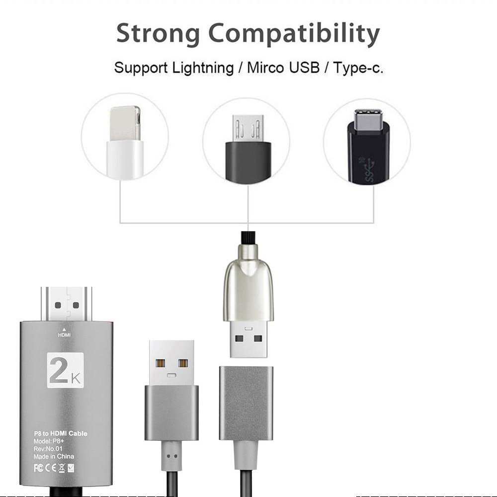 2m USB to HDMI 2K HD Cable Cord for 8-Pin Apple Devices_8