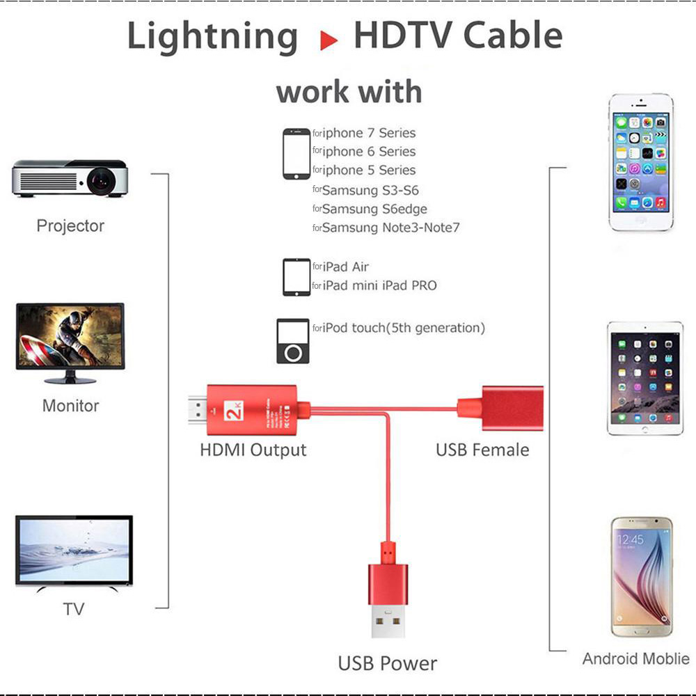 2m USB to HDMI 2K HD Cable Cord for 8-Pin Apple Devices_9
