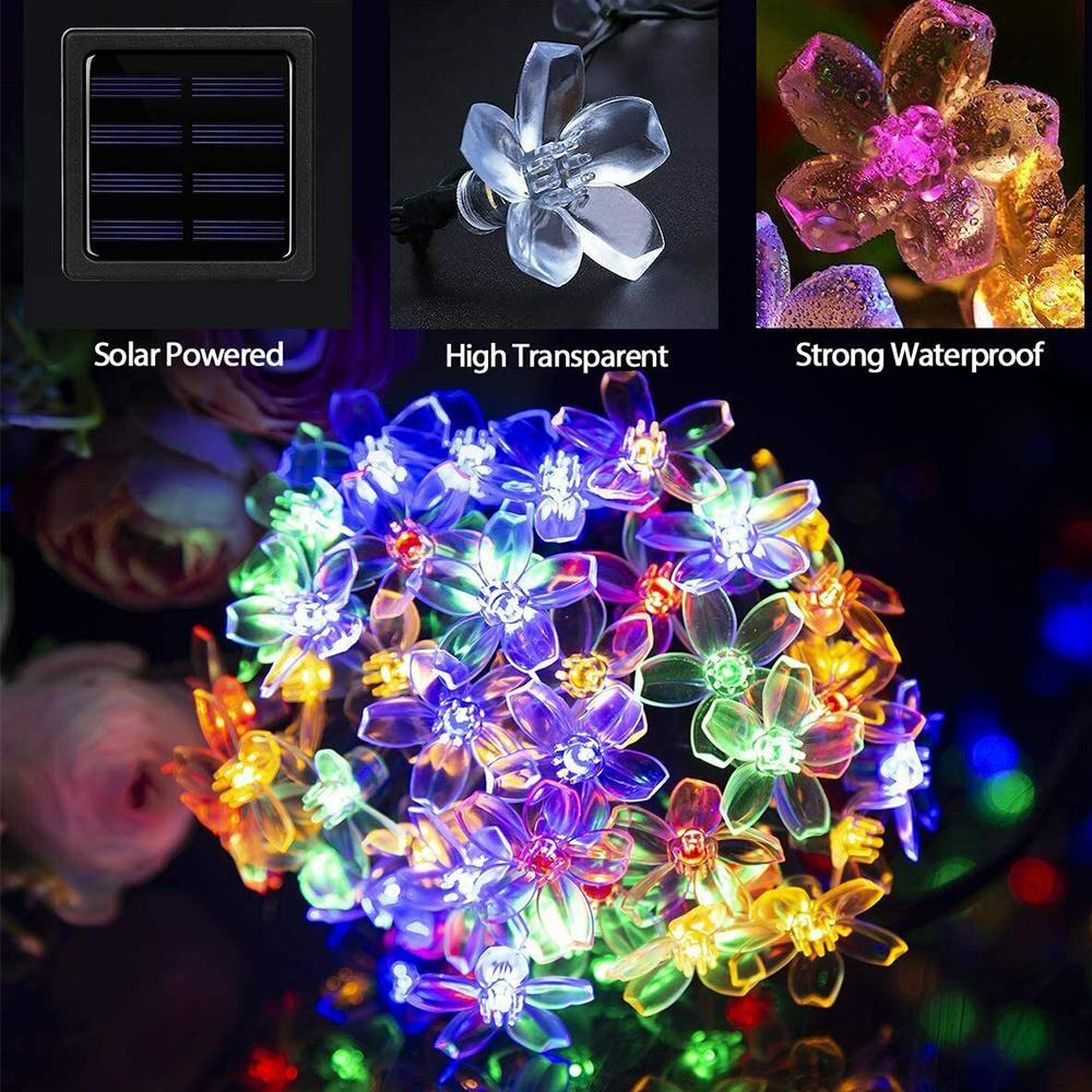 Solar Powered Flower String Lights Cherry Blossom Sakura Fairy Lights_2