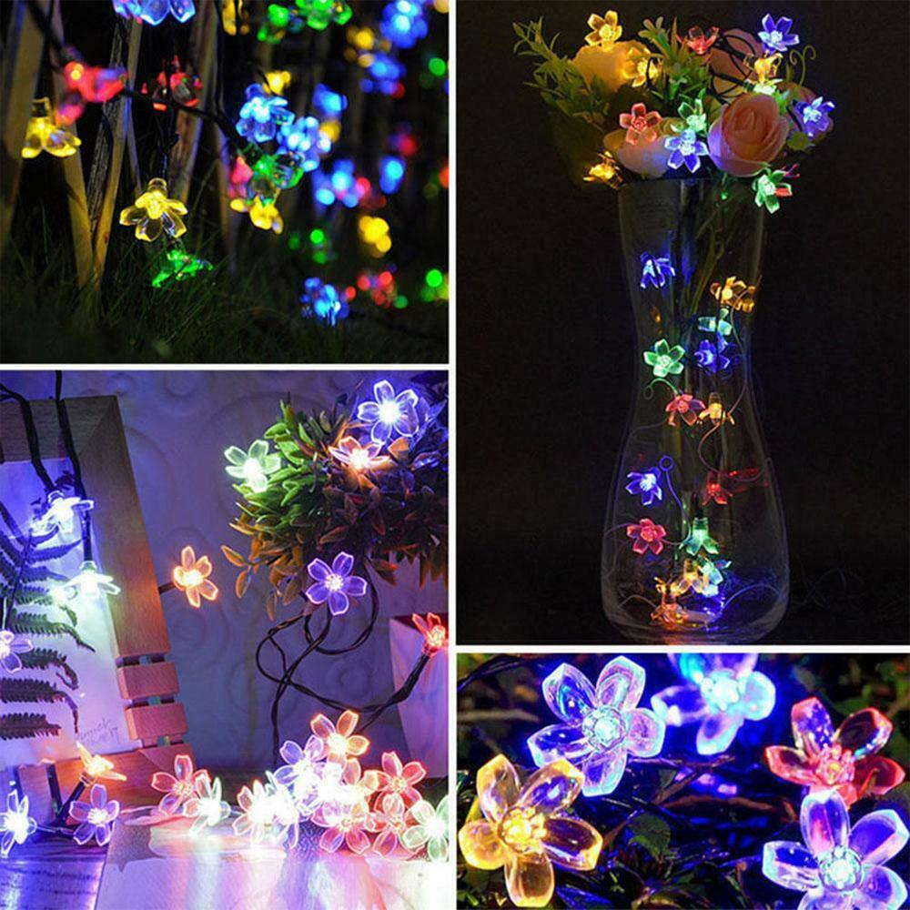 Solar Powered Flower String Lights Cherry Blossom Sakura Fairy Lights_9