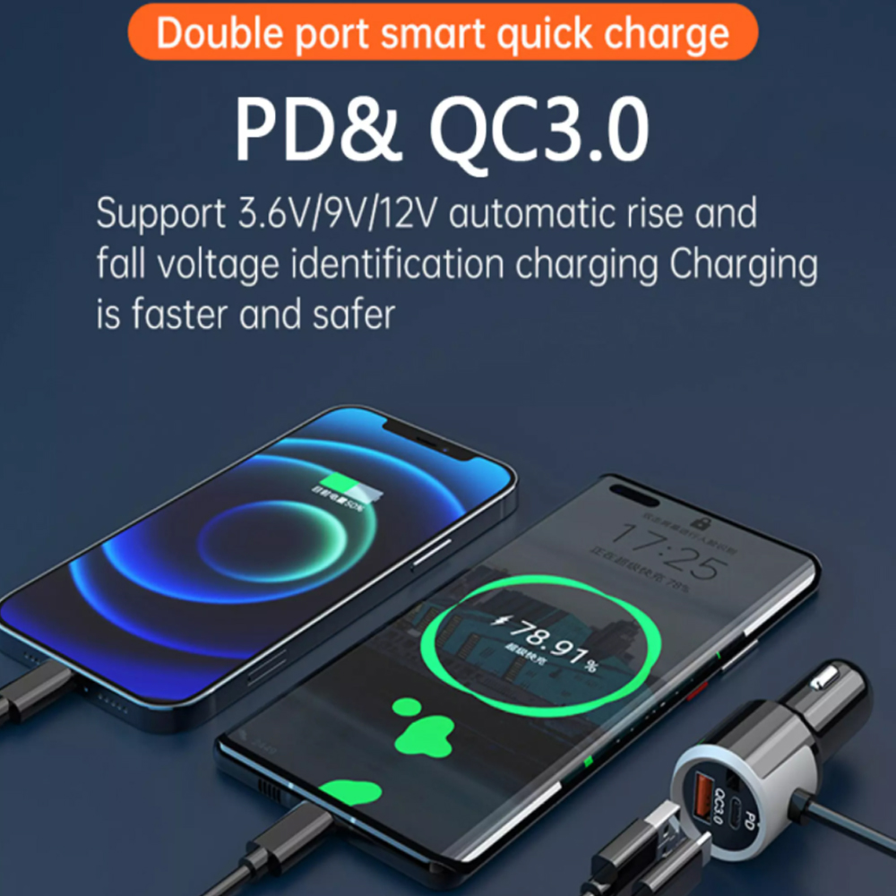QC3.0 Car Charger Mp3 Player Handsfree FM Transmitter_4