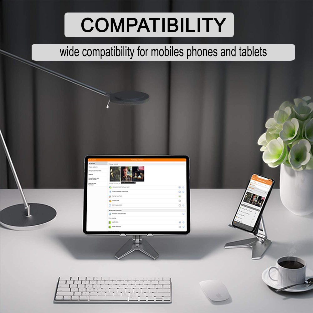 Metal Foldable Tablet Tabletop Vertical Stand with Adjustable Angle_7