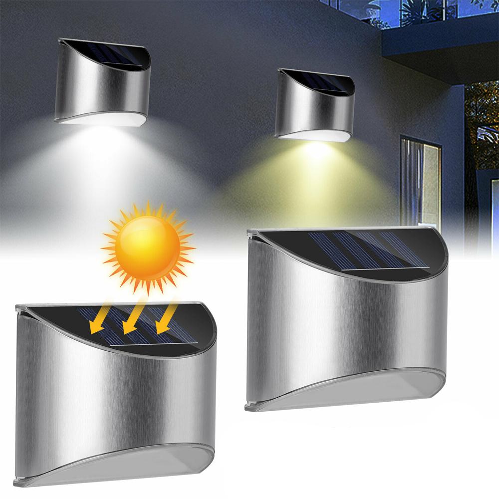 2 Packs Solar Powered Outdoor Wall Lamp Garden Step Light_1