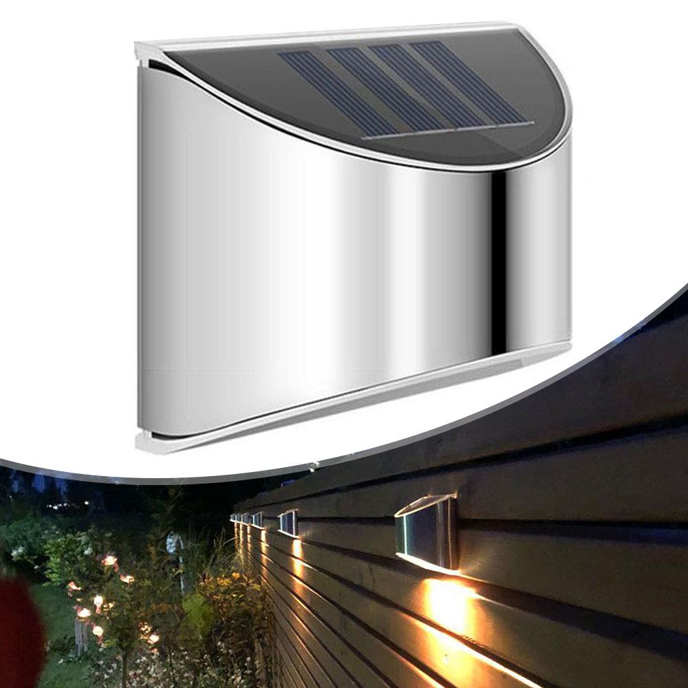 2 Packs Solar Powered Outdoor Wall Lamp Garden Step Light_2