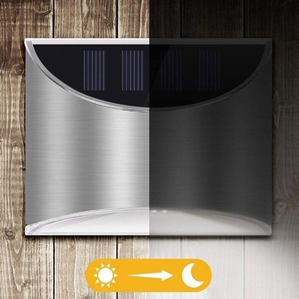 2 Packs Solar Powered Outdoor Wall Lamp Garden Step Light_4