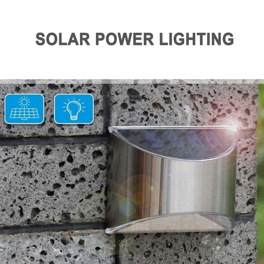2 Packs Solar Powered Outdoor Wall Lamp Garden Step Light_5