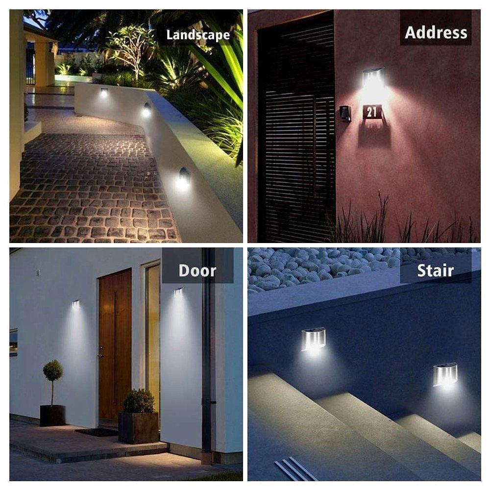 2 Packs Solar Powered Outdoor Wall Lamp Garden Step Light_7