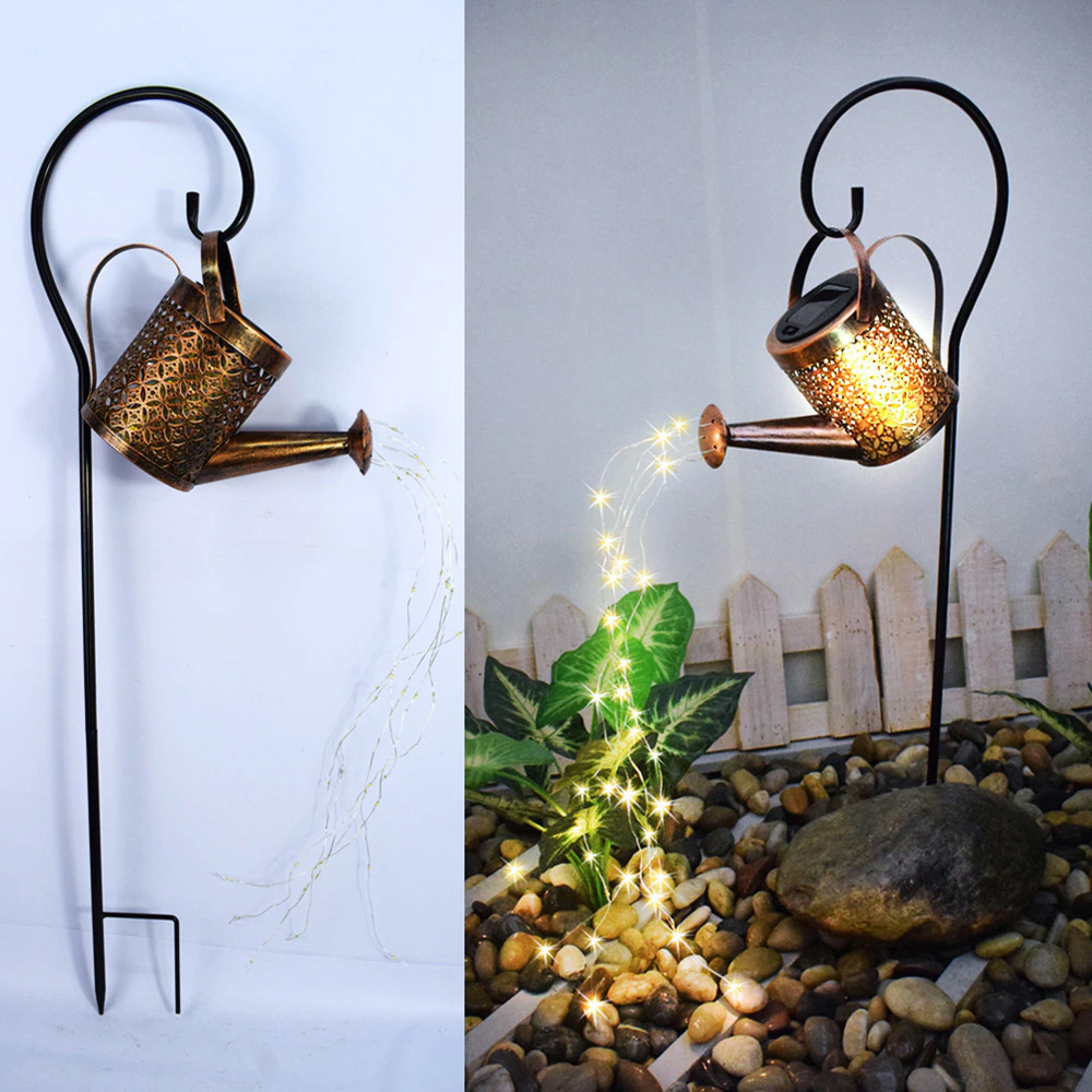 Solar Powered Watering Can LED String Light Outdoor Garden Décor_4