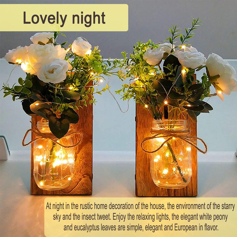 Remote Controlled Rustic Wall Mason Jar Scone LED Fairy Lights_3