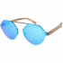 OEM custom logo hexagon black steel frame uv400 wood temple sunglasses
